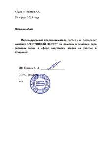 Отзыв ИП Коптев А.А.